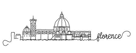 Segno di doodle dello skyline della città di Firenze
