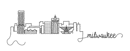 Milwaukee City Skyline Doodle Sign Vector Illustration