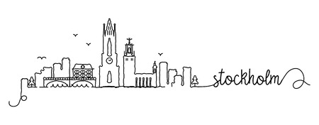 Stockholm City Skyline Doodle Sign