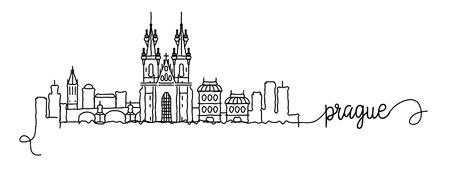 Prague City Skyline Doodle Sign Ilustração