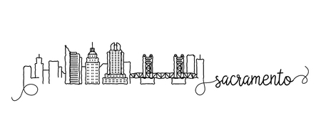 Sacramento City Skyline Doodle Sign Illustration