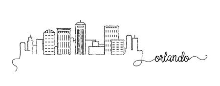 Orlando City Skyline Doodle Sign
