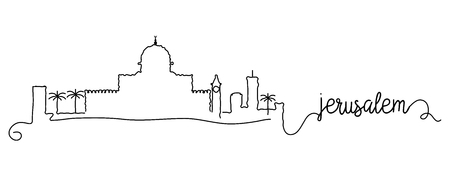 Jerusalem City Skyline Doodle Sign