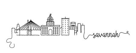 Segno di doodle dello skyline della città di Savannah Vettoriali