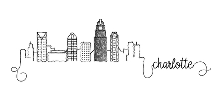 Charlotte City Skyline Doodle Sign