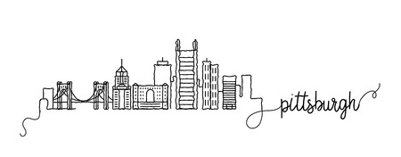 Pittsburgh City Skyline Doodle Sign
