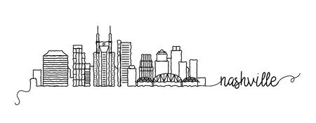Nashville City Skyline Doodle Sign