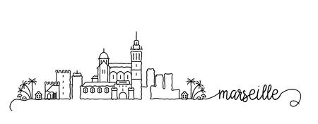 Marseille City Skyline Doodle Sign