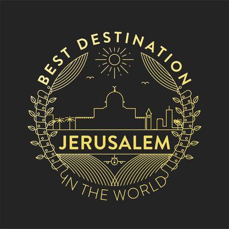 Vector Jerusalem City Badge, Linear Style Ilustração Vetorial