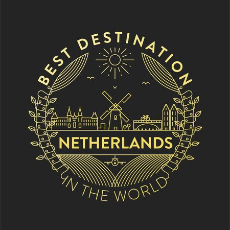 Vector Netherlands City Badge, Linear Style Stockfoto - 124898591