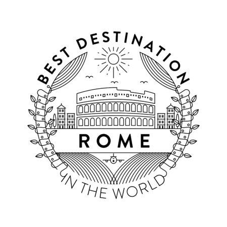 Vector Rome City Badge, Linear Style 矢量图片