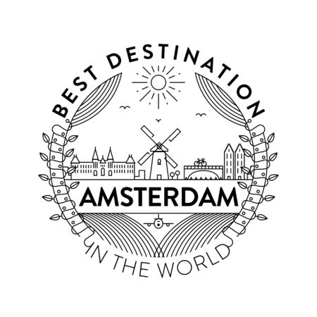 Vector Amsterdam City Badge, Linear Style