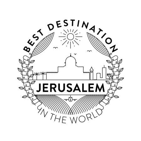Vector Jerusalem City Badge, Linear Style
