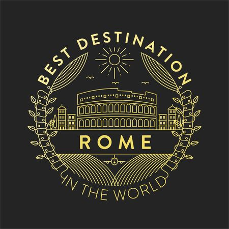 Vector Rome City Badge, Linear Style