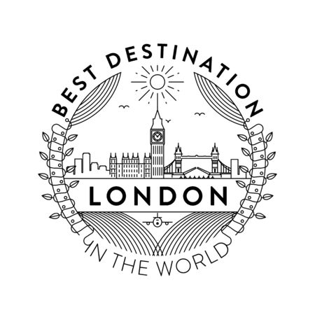 Vector London City Badge, Linear Style