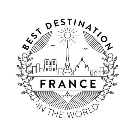 Vector France City Badge, Linear Style Illustration