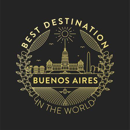 Wektor odznaka miasta Buenos Aires, styl liniowy Ilustracje wektorowe