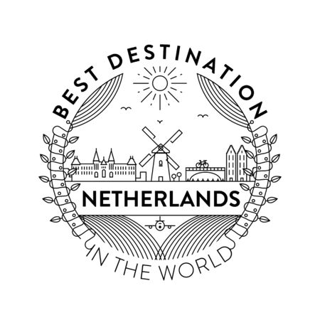 Vector Netherlands City Badge, Linear Style