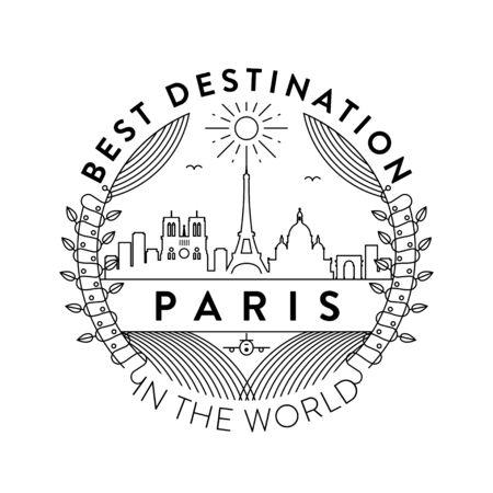 Vector Paris City Badge, Linear Style