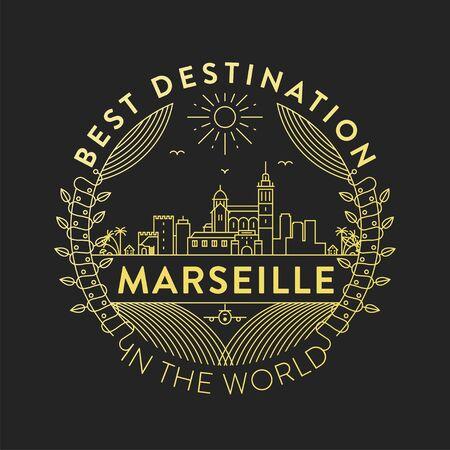 Vector Marseille City Badge, Linear Style