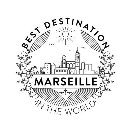 Vector Marseille City Badge, Linear Style Vector Illustration