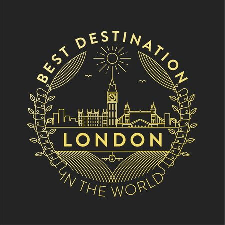Vector London City Badge, Linear Style