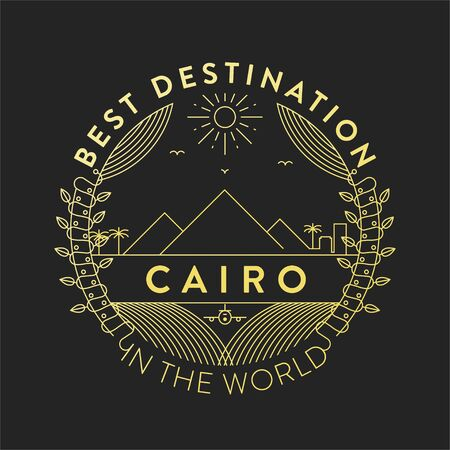 Vector Cairo City Badge, Linear Style