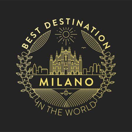 Vector Milano City Badge, Linear Style