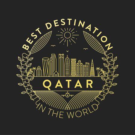 Vector Qatar City Badge, Linear Style