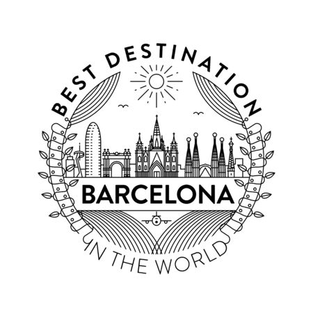 Vector Barcelona City Badge, Linear Style