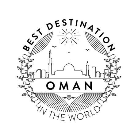 Vector Oman City Badge, Linear Style