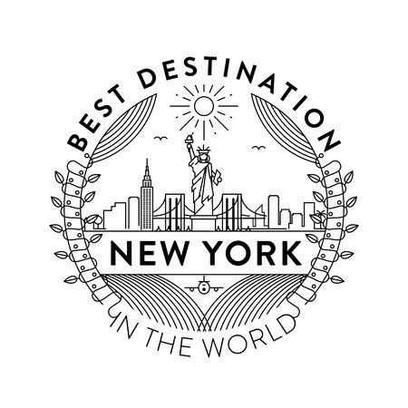 Vector New York City Badge, Linear Style Vettoriali