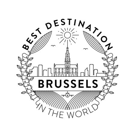 Vector Brussels City Badge, Linear Style