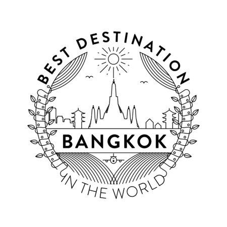 Vector Bangkok City Badge, Linear Style
