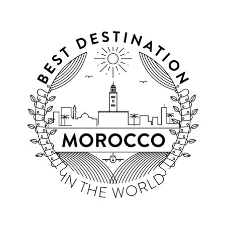 Vector Morocco City Badge, Linear Style Illustration