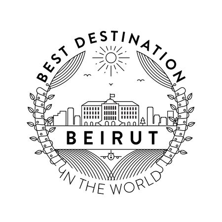 Vector Beirut City Badge, Linear Style