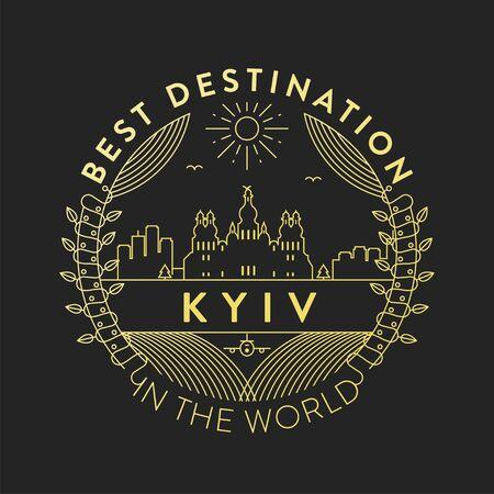 Vector Kyiv City Badge, Linear Style  イラスト・ベクター素材