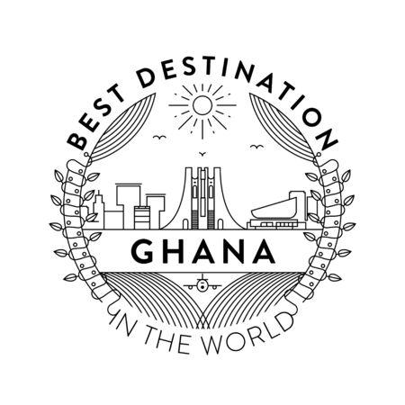 Vector Ghana City Badge, Linear Style