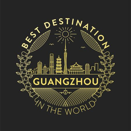 Vector Guangzhou City Badge, Linear Style