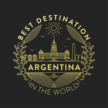 Vector Argentina City Badge, Linear Style