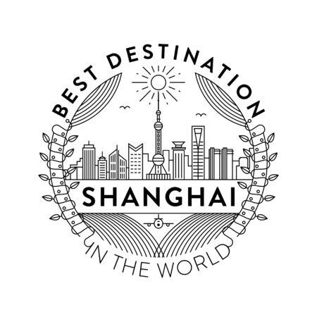 Vector Shanghai City Badge, Linear Style  イラスト・ベクター素材