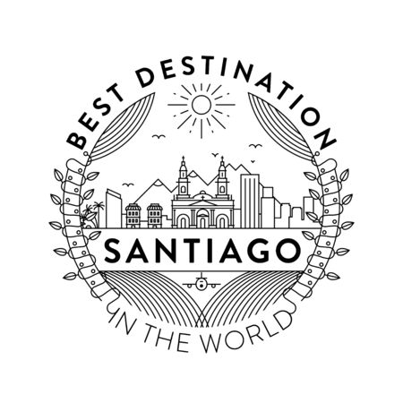 Vector Santiago City Badge, Linear Style  イラスト・ベクター素材