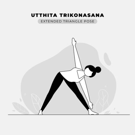 Extended Triangle Yoga Pose Vector Illustration Ilustração