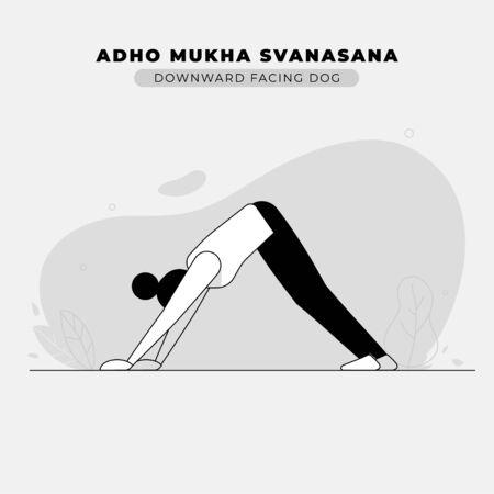 Downward Facing Dog Yoga Pose Illustration