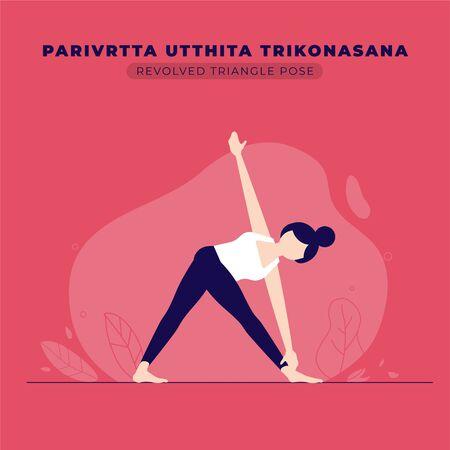 Revolved Triangle Yoga Pose Illustration Ilustração