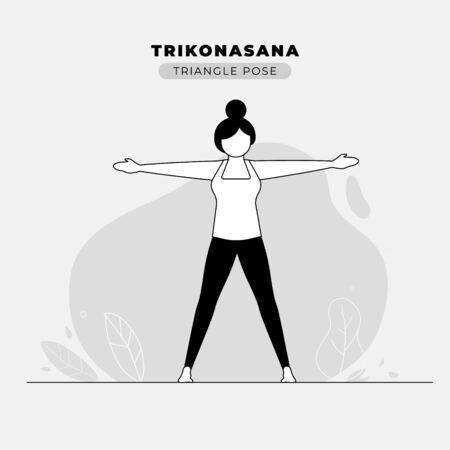 Triangle Yoga Pose Vector Illustration
