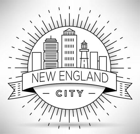 Minimal New England City Linear Skyline with Typographic Design Illusztráció