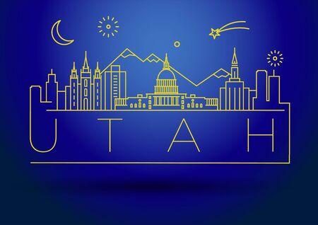 Minimal Utah City Linear Skyline with Typographic Design Illusztráció