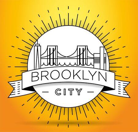 Minimal Brooklyn City Linear Skyline with Typographic Design Illusztráció
