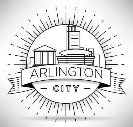 Minimal Arlington City Linear Skyline with Typographic Design